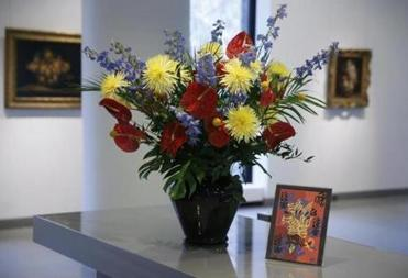 Boston, Massachusetts -- 4/6/2017 - A Matisse-inspired flower arrangement for the Sharf Visitor Center is seen at the MFA. (Jessica Rinaldi/Globe Staff) Topic: ArtinBloom Reporter: